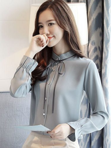 Women's Shirt Flared Sleeve Buttons Stand Collar Patchwork Long Sleeve Elegant Tie Neck