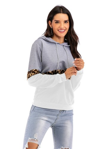 Women's Hoodie Leopard Print Colorblock Comfy Casual Long Sleeve Patchwork Hooded
