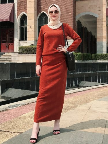 Women's 2Pcs Skirt Set Loose Top Casual Long Sleeve Crew Neck High Waist Simple Solid Color