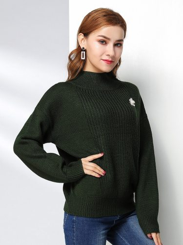 E•BECKY Women's Sweater Solid Color Casual Loose Long Sleeve Turtle Neck This sweater does not include the brooch