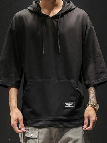 Men's Hoodie Solid Color Half Sleeved Hooded School Casual Loose