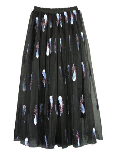 Women's A Line Skirt Feather Elastic Waist Fashion Top Fashion Embroidery Patchwork Midi High Waist