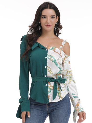 Women's Shirt Button Print Sexy Patchwork Long Sleeve Asymmetrical Neck