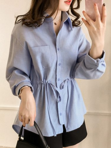 Women's Shirt Stylish Pocket Solid Color Turn Down Collar Loose Long Sleeve Sweet