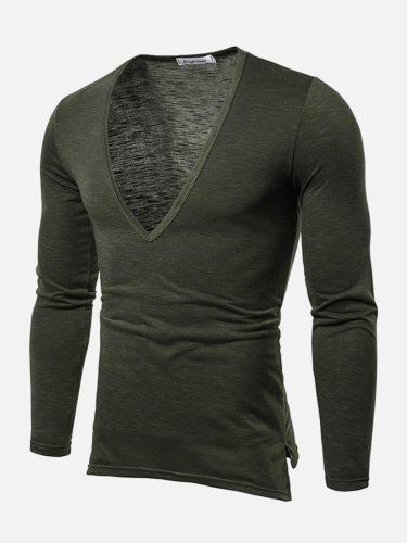 Men's T Shirt Color Split Long Sleeve Going Out Casual Solid V Neck Slim