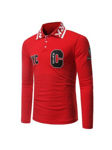 Men's Polo Shirt Letter Pattern Slim Holiday Solid Long Sleeve Fashion Turn Down Collar