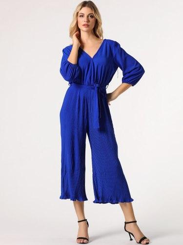 Women's Jumpsuit Belt Solid Color Maxi Three Quarters Sleeve Slim Mid Waist Elegant V Neck