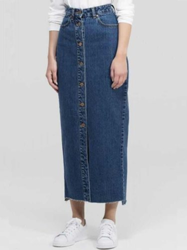 Women's Denim Skirt Stylish High Waist Split Midi Solid Casual