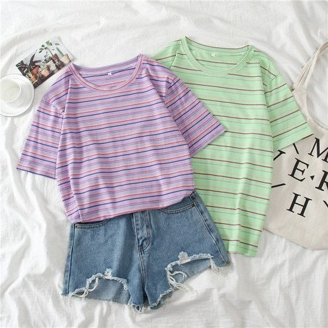 Women's T Shirts Regular Sweet Polyester Cotton Regular OL&Feminine OL Short Sleeve Loose Crew Neck