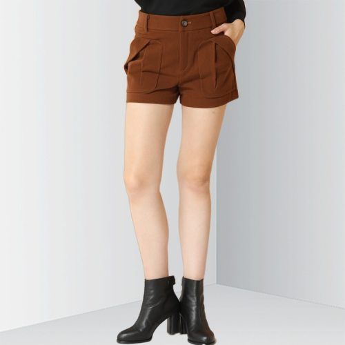 E·BECKY Women's Shorts Fashion Short High Waist Slim Simple Solid Color