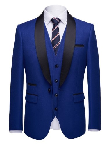 3 Pcs Men's Tailored Suit Simple Style Formal Suit Excluding Neck Tie Single Breasted Turn Down Collar suit pants