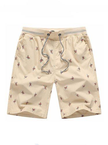 Men's Beach Floral Fresh Style Drawstring Waist Personality Breathable Trendy Polka Dot Quick Dry Shorts Loose Elastic Waist Mid Waist