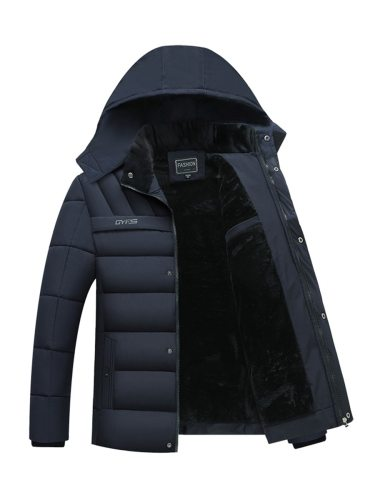 Men's Quilted Coat Pocket Long Sleeve Coats Zipper Regular Casual Loose Hooded Going Out