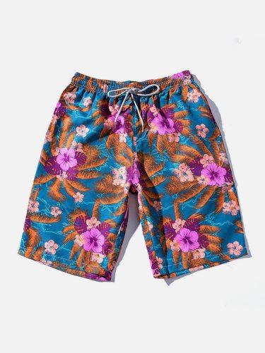 Men's Beach Fashion Floral Drawstring Bow Decor Mid Waist Breathable Print Elastic Waist Shorts