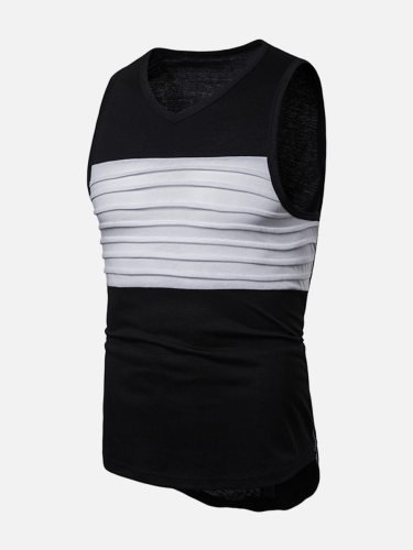 Men's Tank Fashion Ruching Zipper Colorblock Crew Neck Casual Going Out