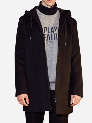 Tonlion Men's Wool Blend Coat Color Simple Zipper Casual Hooded Solid Long Sleeve Coats