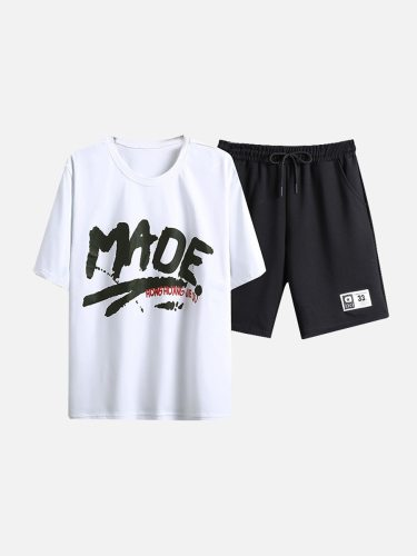Men's Short Pants Set T Shirt Casual Shorts Going Out Fashion Crew Neck Loose Print Short Sleeve
