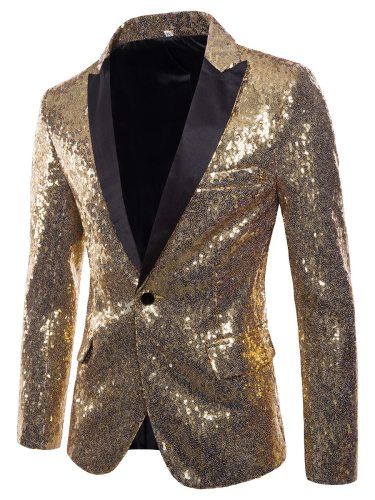 Men's Blazer Sequins Solid Color Slim Formal Single Button Notched
