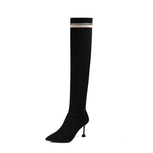 Women's Above Knee Boots Fashion Elegant Sweet Youth14-30Age Goblet Heel Pointed toe 8 cm Rubber Sole High65-13CM Suede Patchwork Heels boots Slip-On