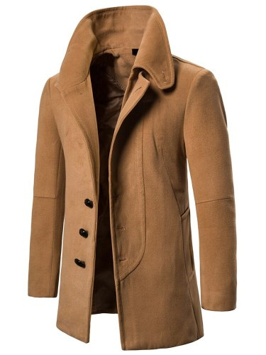 Men's Wool Blend Coat Solid Color Single Breasted Fashion Long Sleeve Turn Down Collar Slim Coats