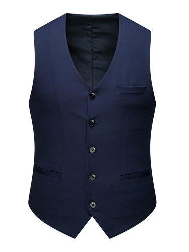 Men's Vest Jacket Solid Color Vest Casual V Neck Single Breasted Slim