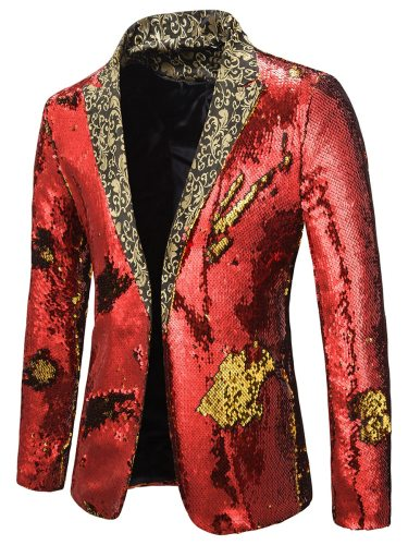 Men's Blazer Sequins Long Sleeve Colorblock Notched Formal Single Button