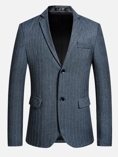 Men's Blazer Collar Long Sleeve Button Going Out Striped Single Breasted Notched Blazers