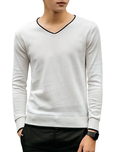Men's Sweater Breathable Skin-Friendly Slim Long Sleeve Casual V Neck Solid