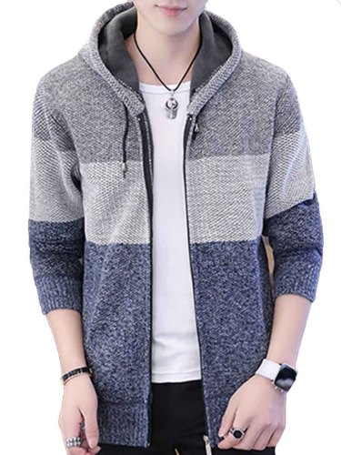 Men's Cardigan Casual Plus Size Patchwork Long Sleeve Hooded