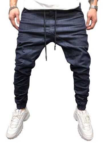 Men's Jeans Solid Color Drawstring Denim Slim Mid Waisted Casual