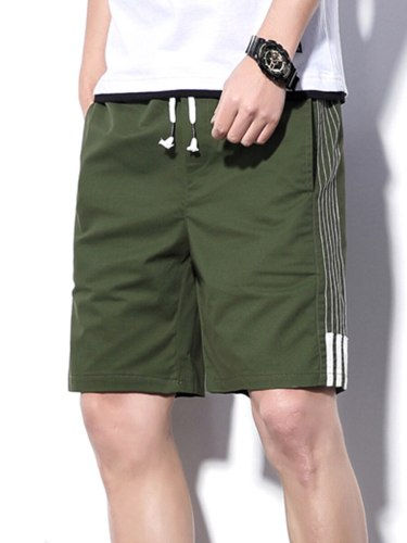 Men's Shorts Pocket Drawstring Striped Short Mid Waisted Date Patchwork Drawstring Waist