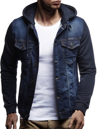 Men's Denim Jacket Trendy Patchwork Pocket Decor Solid Hooded Casual Long Sleeve