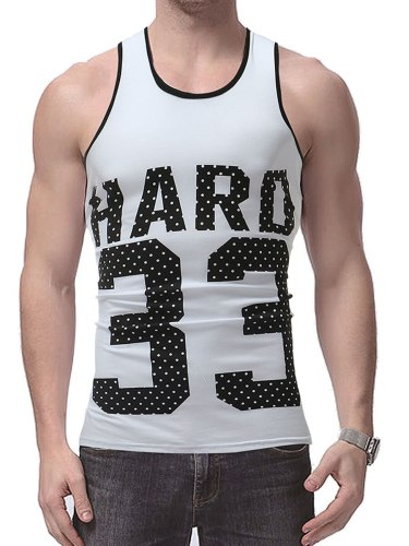 Men's Tank Letters Figures Elastic Breathable Sports Tank Daily Casual Print Crew Neck Slim