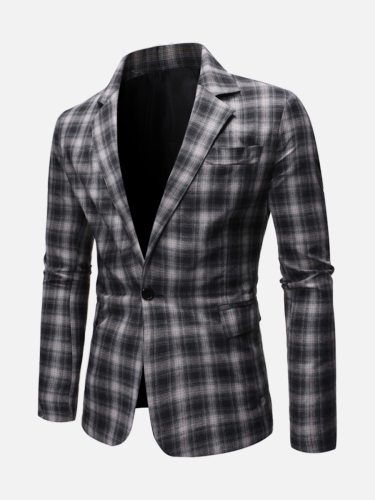 Man's Blazer Blazers Notched Single Breasted Button Plaid