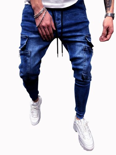 Men's Solid Color Casual Fashion Jeans Slim Mid Waisted