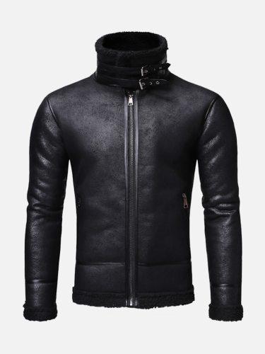 Men's Synthetic Leather Jacket Fashion Fleece Patchwork Zipper School Casual Long Sleeve Slim