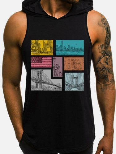 Men's Tank Sleeveless Quick Drying Printed Hooded Fashion Casual Colorblock