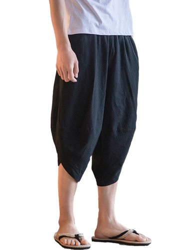 Men's Casual Shorts Solid Color Patchwork Fashion Short Mid Waisted Elastic Waist Loose