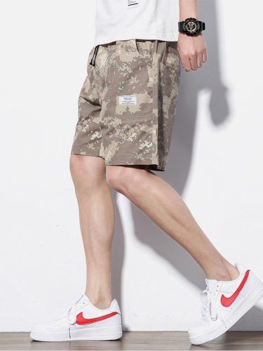 Men's Casual Shorts Fashion Pocket Mid Waist Drawstring Mid Waisted Camouflage