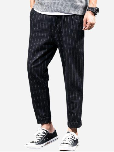 Tonlion Men's Pants Stripe Print Faddish Mid Waist Full Length Slim Button Mid Waisted Casual