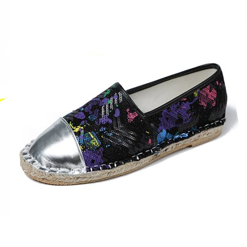 Women's Loafers Simple Flat Sequins Decorated Wearable Holiday Middle Age30-50 Others Rubber Sole Color Block Platforms PU 1 cm Slip-On Flat0-3cm Top