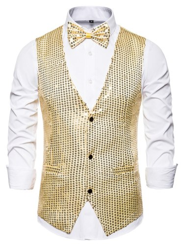 Men's Vest Jacket Sequins Solid Color Colorblock Single Breasted V Neck Pocket