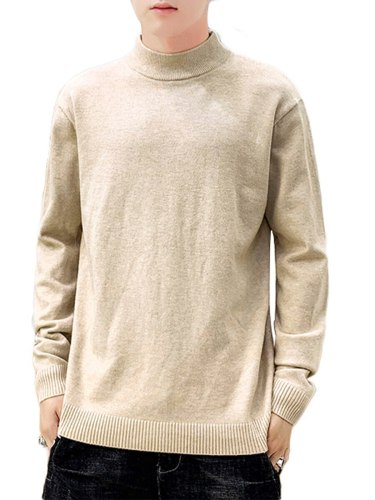 Men's Sweater Solid Color Turtle Neck Slim Plus Size without accessories Long Sleeve Crew Neck Fashion