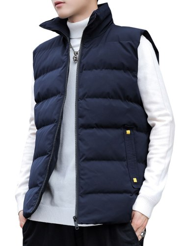Jisney Men's Vest Jacket Sleeveless Solid Color Fashion Stand Collar Casual Single Breasted Going Out Slim