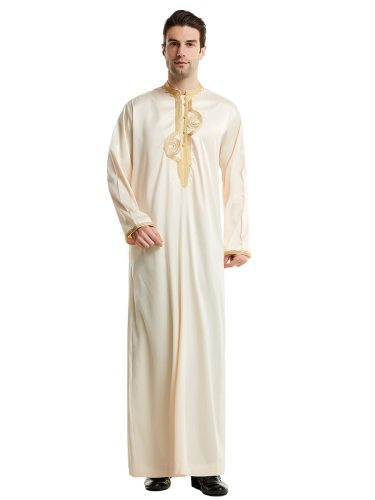 Men's Kaftan Dress Silk Like Maxi Embroidery Stand Collar Long Sleeve