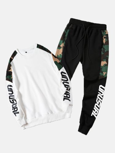 Men's 2Pcs Pants Set Print Sweatshirt Patchwork Waist Drawstring Crew Neck Long Sleeve Casual Letter