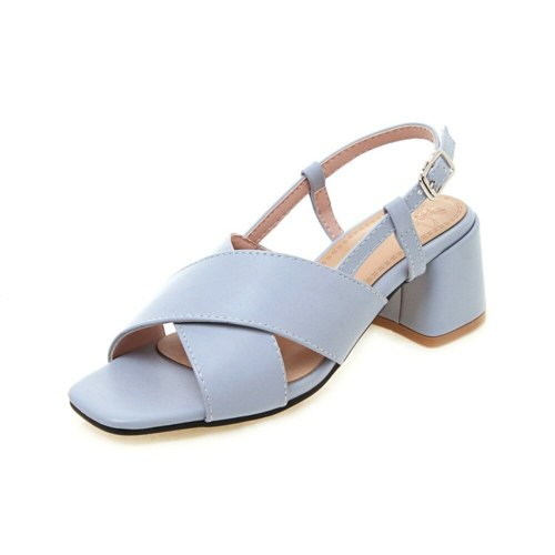 Women's Mid Heel Sandals Simple Thick Heel thick heel sandals Other Sole 6 cm Stitching Material Preppy Daily Square Heels Shoes