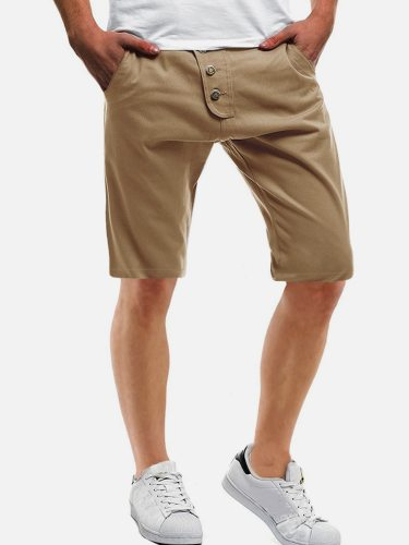 Men's Shorts Solid Button Pocket Date Elastic Waist Mid Waisted Patchwork Plus Size