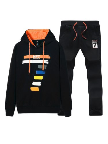 Men's 2 Pcs Set Colorful Line Patter Drawstring Hoodies Sports Style Pants Men's Long Sleeve Loose Crew Neck Print Casual