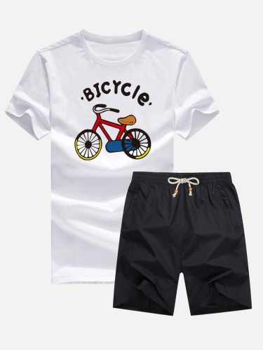 Men's 2Pcs Clothes Set ed Bicycle Top Casual Shorts Print Crew Neck Short Sleeve Fashion